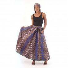 Lovely  Interwoven Print Long Skirt: Dark Brown