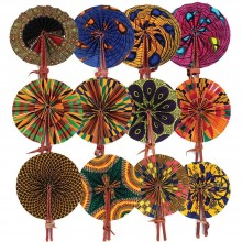 Irie Set Of 12 African Folding Fans, Measures 9