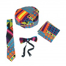 Accessory Set with Tie, Pocket Square, Bow Tie adjustable and Matching Cap SKU: SOA-ACESS01:E