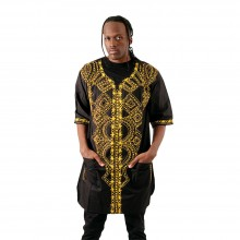 Black Panther Dashiki - Cotton, V-neck, Half-Length Sleeves, Rounded Hemline, Front Pockets