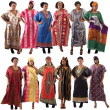 Dress - Caftans Dresses, Rayon, Cotton, One Size Fits Most, Set Of 12 Assorted